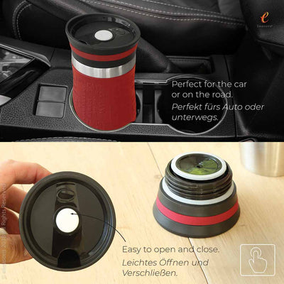 eSeasons Vacuum Insulated Reusable Coffee Cup: Our travel mug fits in most car cup holders, and easy to open and close