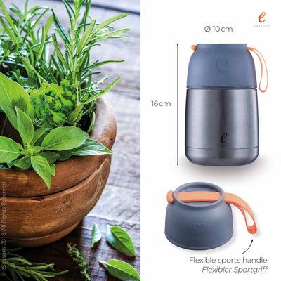 eSeasons Vacuum Insulated Stainless Steel Food Flask 430ml. Grey & Orange. Sizing Information, flexible sports handle.