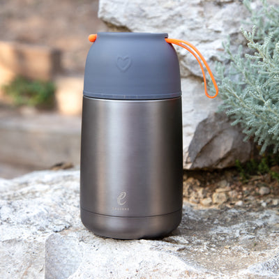 eSeasons Vacuum Insulated Stainless Steel Food Flask. Grey Orange BPA Free. Keeps hot/cold 30ml
