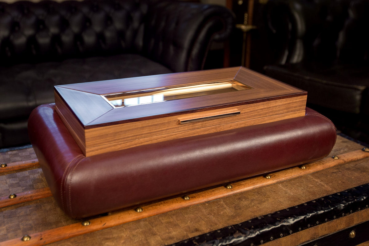 Bernardini Humidor Deco - Brown leather and Walnut
