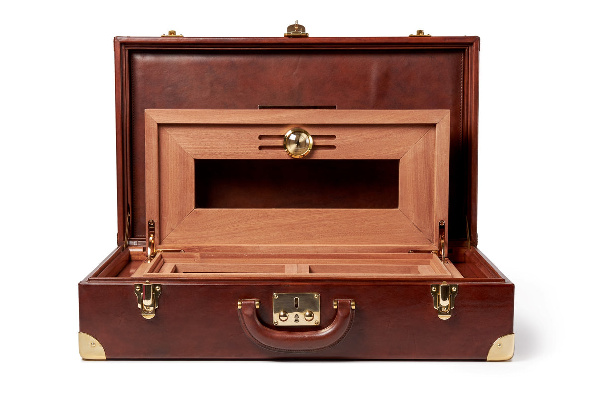 Bernardini Humidor Briefcase - Brown leather and Mahogany - N° 04/30
