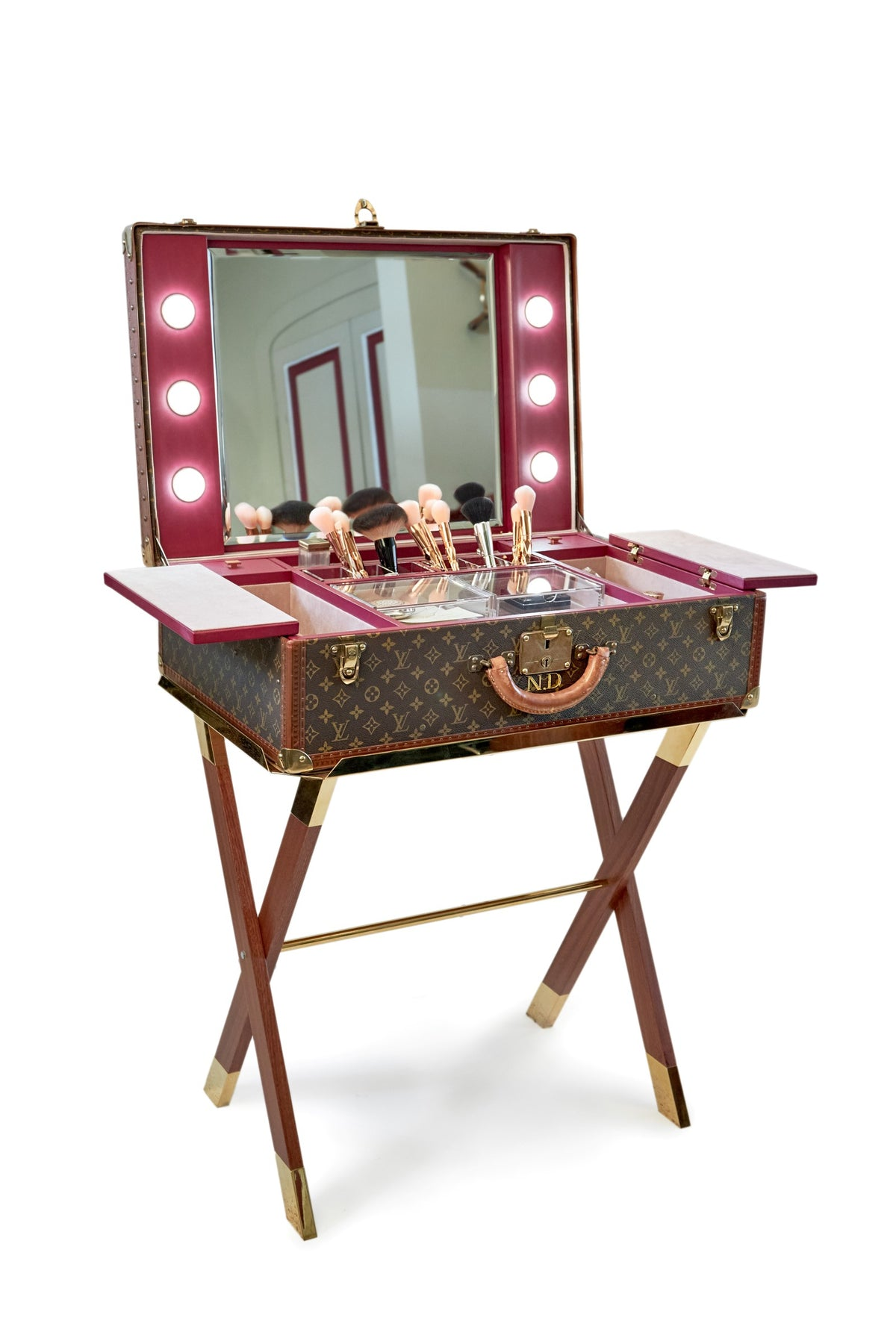 A Singular Bernardini Vanity Dressing Table in a fine vintage Louis Vuitton suitcase