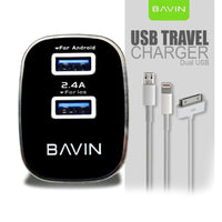 Bavin PC727 Dual USB Slot 2.4A Android Quick Charger Travel Adapter