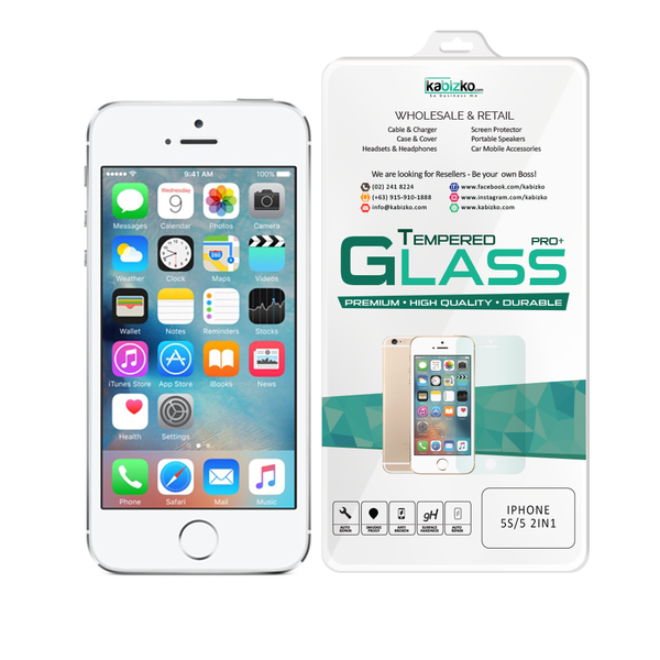 Kabizko iPhone 5/5S 2 in 1 Tempered Glass Screen Protector