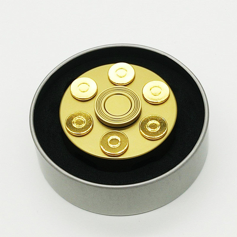 Revolver Polished Brass Metal Hand Spinner