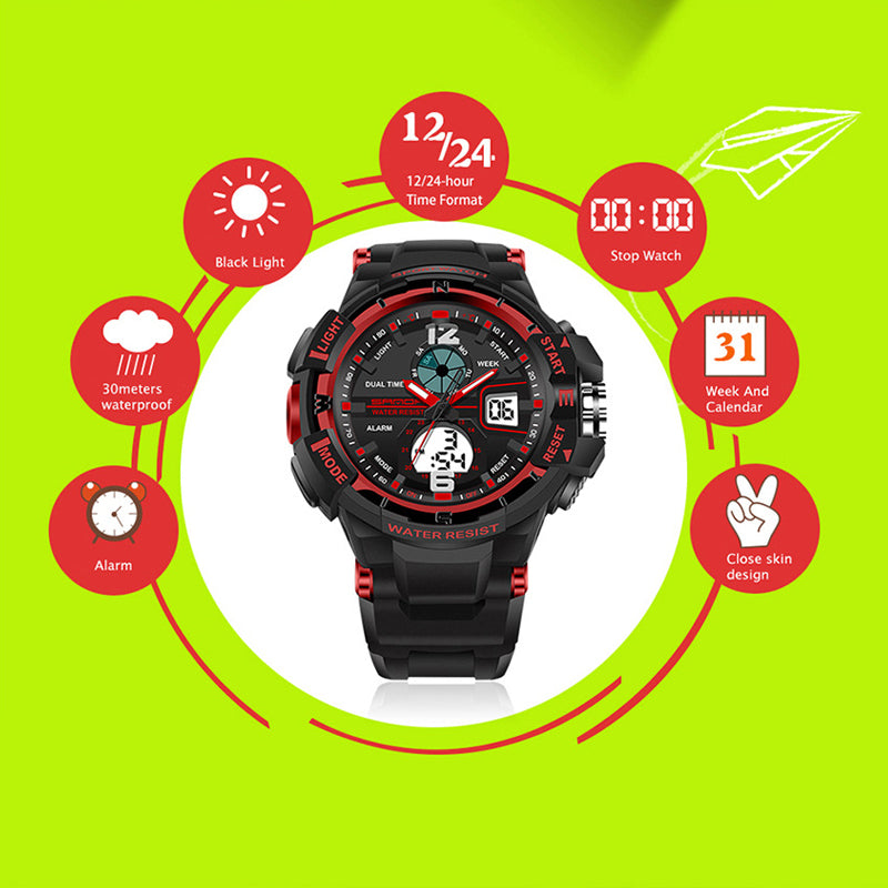 SANDA 789 Sports Waterproof Analog Digital Watch
