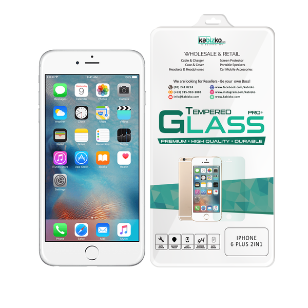 Kabizko iPhone 6 Plus/6S Plus 2 in 1 Tempered Glass Screen Protector