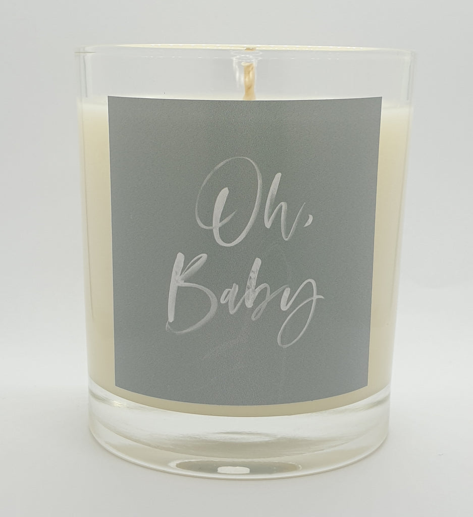 Oh, Baby candle brushed lettered