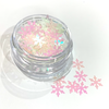 Pink/White Snow Flake Glitter Pot - Flick & Flutter Beauty Supplies Australia