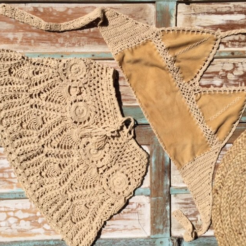 Kulit Crop Top in Suede and Crochet