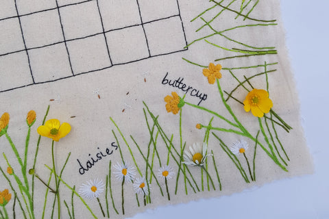 botanical hand embroidery daisies and buttercups