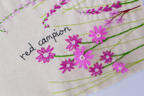 botanical hand embroidery red campion