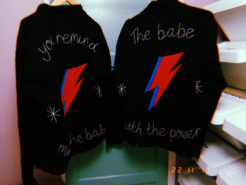 hand embroidered matching bridal jackets inspired by bowie and labyrinth