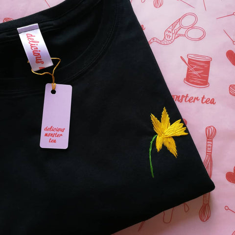 hand embroidered daffoil organic cotton black t-shirt