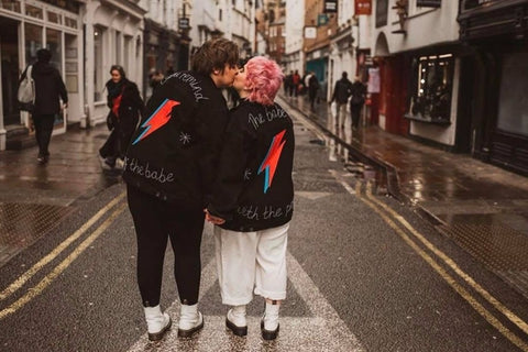 hand embroidered matching bridal jackets inspired by bowie and labyrinth, photographed by jessica stott