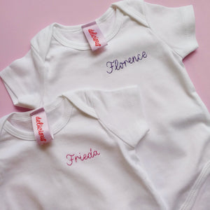 florence and frieda organic cotton white hand embroidered personalised baby grow vests