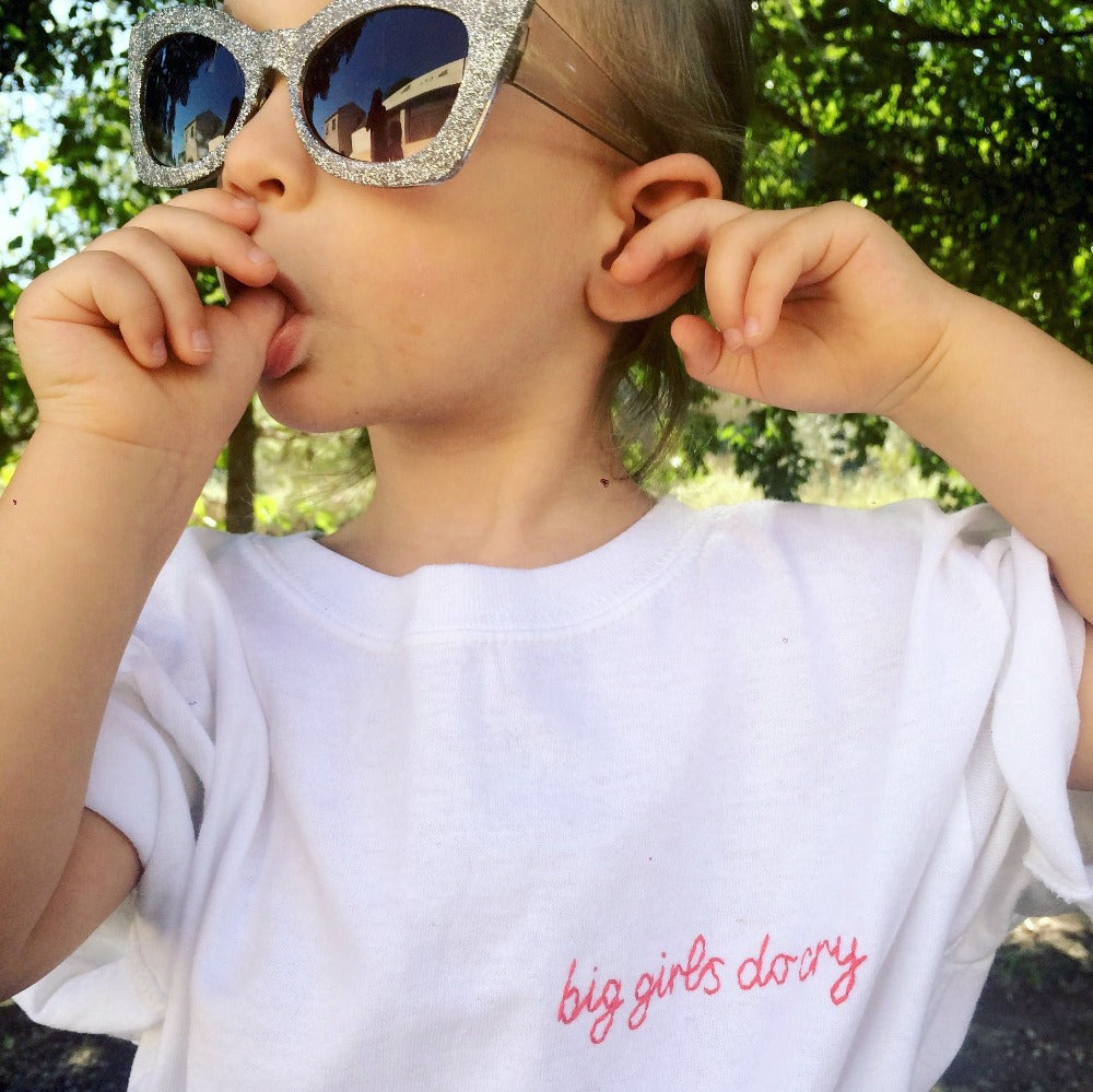 big girls do cry organic cotton white hand embroidered custom kids t-shirt for children