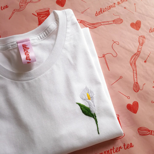 calla lily organic cotton white hand embroidered personalised flower t-shirt