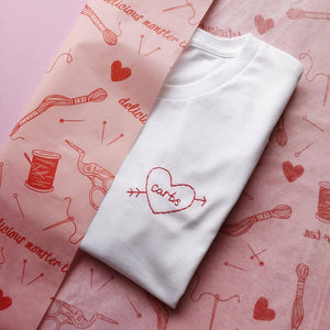carbs love heart organic cotton white hand embroidered personalised t-shirt