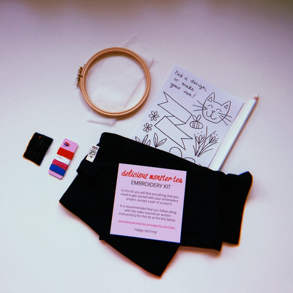 embroider your own dark navy tshirt kit hand embroidery for beginners - diy craft kit for adults