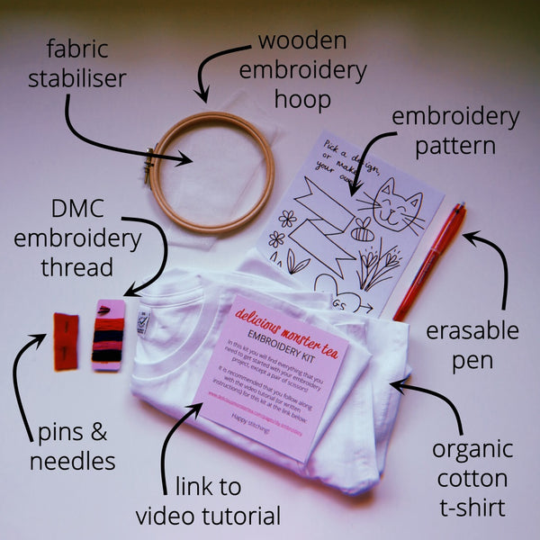 embroider your own tshirt kit hand embroidery for beginners diy craft kit for adults 9
