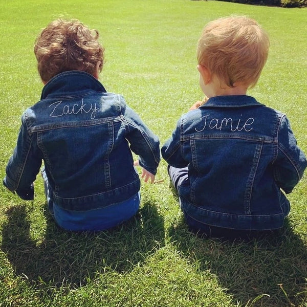 embroidery service send your own item personalised baby denim jackets