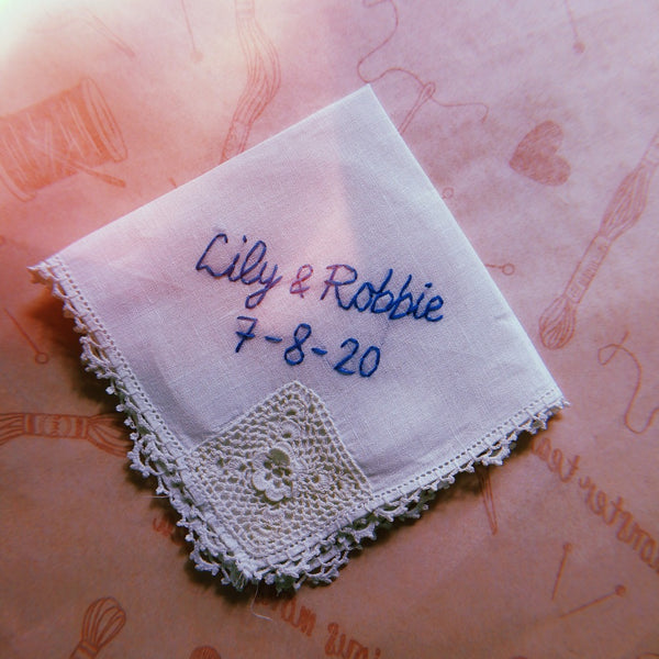 embroidery service send your own item personalised wedding handkerchief lace