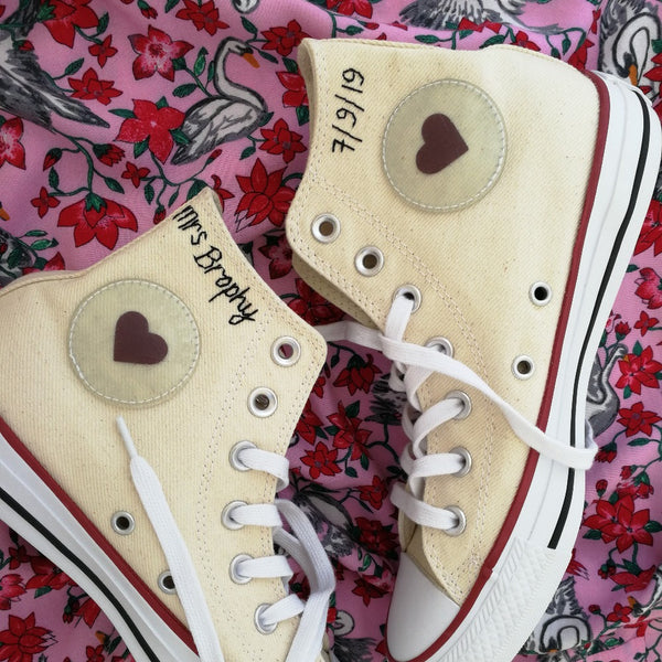 embroidery service send your own item personalised wedding shoes converse