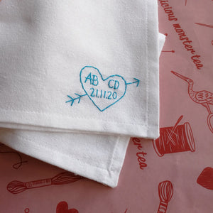 initials and wedding date love heart organic cotton white hand embroidered personalised handkerchief for wedding gift 2