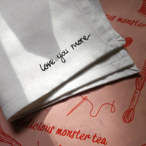 love you more organic cotton white hand embroidered personalised handkerchief for wedding gift 4