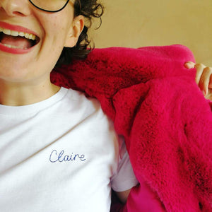 name organic cotton white hand embroidered personalised t-shirt