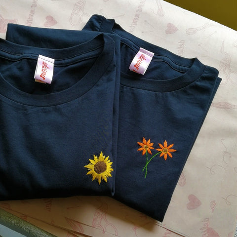 sunflower and orange gerbera organic cotton navy hand embroidered personalised flower t-shirt