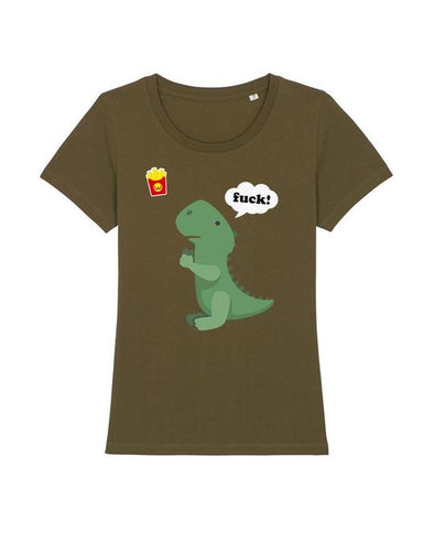 Wat? Apparel Women's T-Rex with Chips T- Shirt Khaki