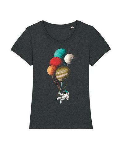 Wat? Apparel Women's Balloon Astronaut T-Shirt Dark Heather Grey