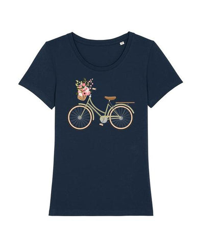Wat? Apparel Women's Ladies Bike T-Shirt French Navy