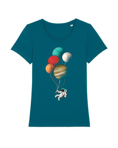 Wat? Apparel Women's Balloon Astronaut T-Shirt Ocean Depth