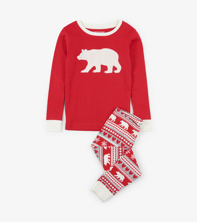 Hatley Little Blue House Fair Isle Bear Pyjamas