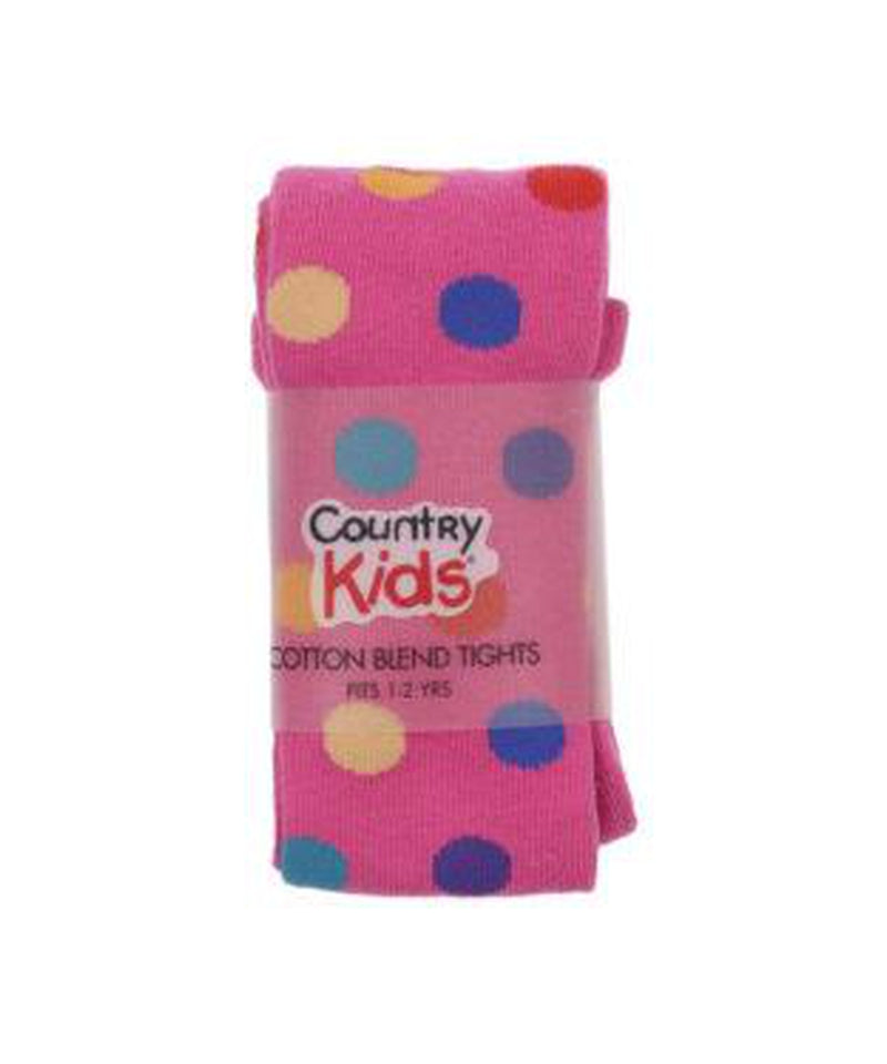 Country Kids Multi Dot Hot Pink Tights