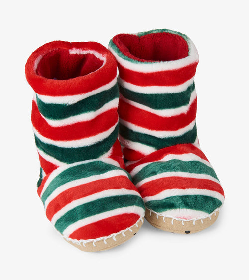 Hatley Holiday Stripes Fleece Slippers