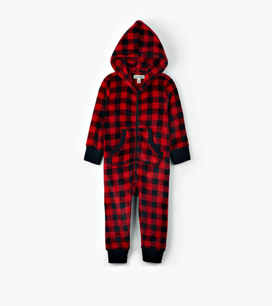 Hatley Little Blue House Buffalo Plaid Kids' Fleece Jumpsuit