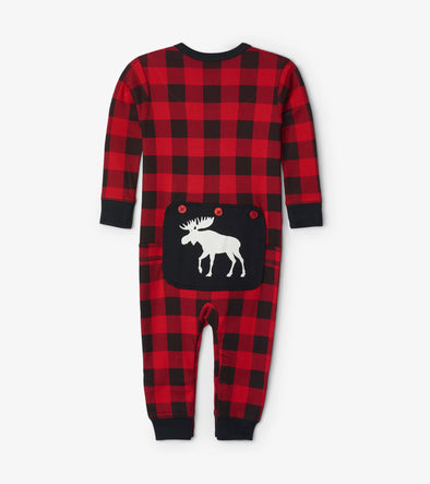 Hatley Little Blue House Moose on Plaid Union Suit