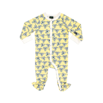 Villervalla Soft Sunflower Koala Footed Sleepsuit