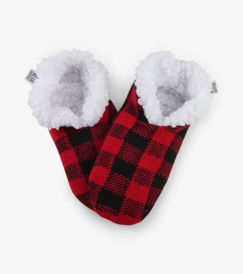 Hatley Little Blue House Buffalo Plaid Warm and Cosy Slippers