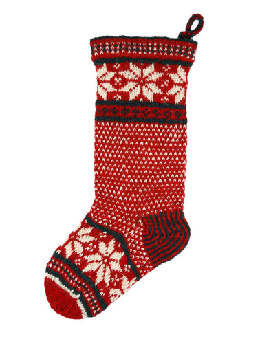Pachamama Red and Green Snowflake Christmas Stocking