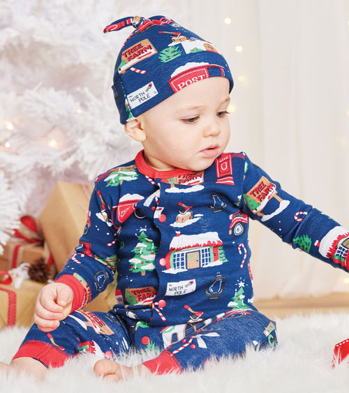 Hatley Little Blue House Navy Christmas Village Coverall with Hat
