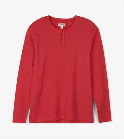 Hatley Little Blue House Men's Red Waffle Henley Pyjama Top