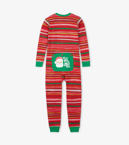 Hatley Little Blue House Holiday Stripes Union Suit