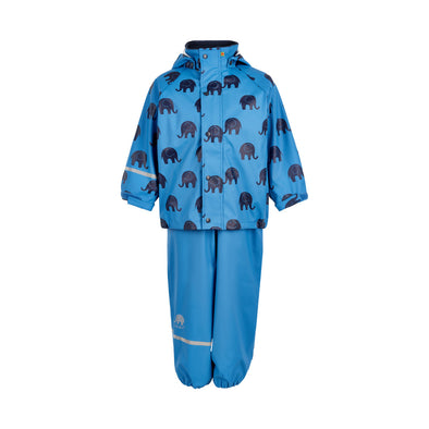 Celavi Elephants Blue Waterproof Rainwear Set
