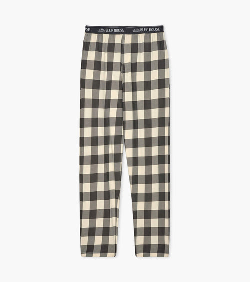 Hatley Little Blue House Cream Plaid Men's Jersey Pyjama Bottoms