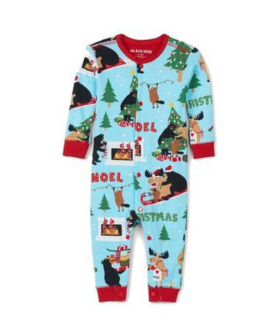 Hatley Little Blue House Wild About Christmas Union Suit